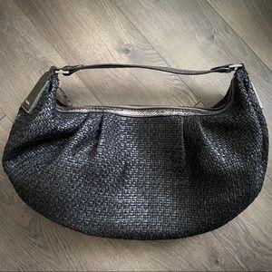 Calvin Klein Straw Shoulder Bag Crackled Leather